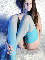 Brunette in blue lace