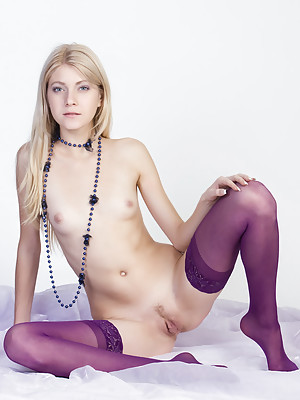 Purple is the color of the day, with Bayle looking so smart with her tiny nipples out and her only clothes being purple stockings.